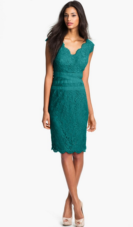 07744a30604 This is a Tadashi Shoji Lace & Tulle Sheath Dress from Nordstroms ($298 -  the color is technically aqua blue but it looks pretty teal to me.